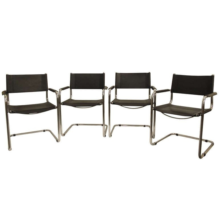 Set Of Four Chrome And Vinyl Dining Chairs At 1Stdibs Dining Room For Chrome Leather Dining Chairs (Image 22 of 25)