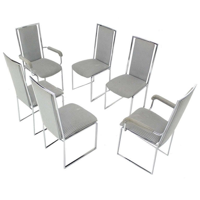 Set Of Four Chrome And Vinyl Dining Chairs At 1Stdibs Dining Room With Chrome Dining Sets (View 22 of 25)