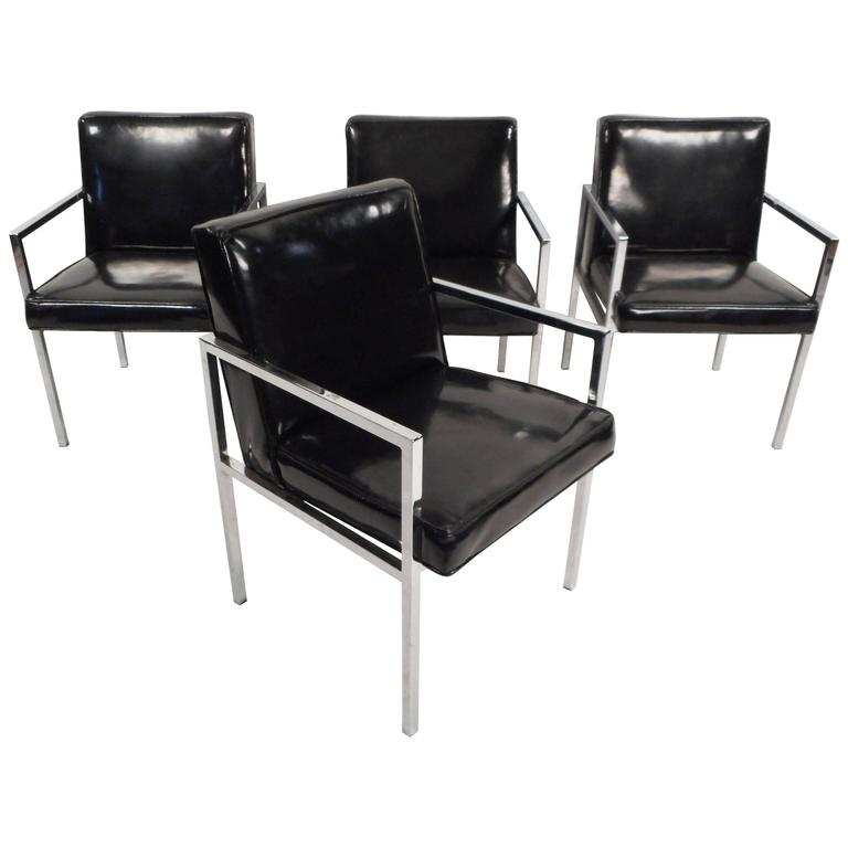 Set Of Mid Century Modern Vinyl And Chrome Dining Chairs For Sale At For Chrome Dining Chairs (Image 22 of 25)