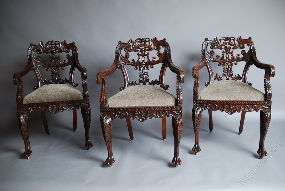 Set Of Six Anglo Indian Chairs – Antiques Atlas Within Indian Dining Chairs (Image 17 of 25)