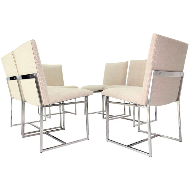 Set Of Six Mid Century Modern Chrome Dining Chairs In The Style Of M Within Chrome Dining Chairs (Image 23 of 25)