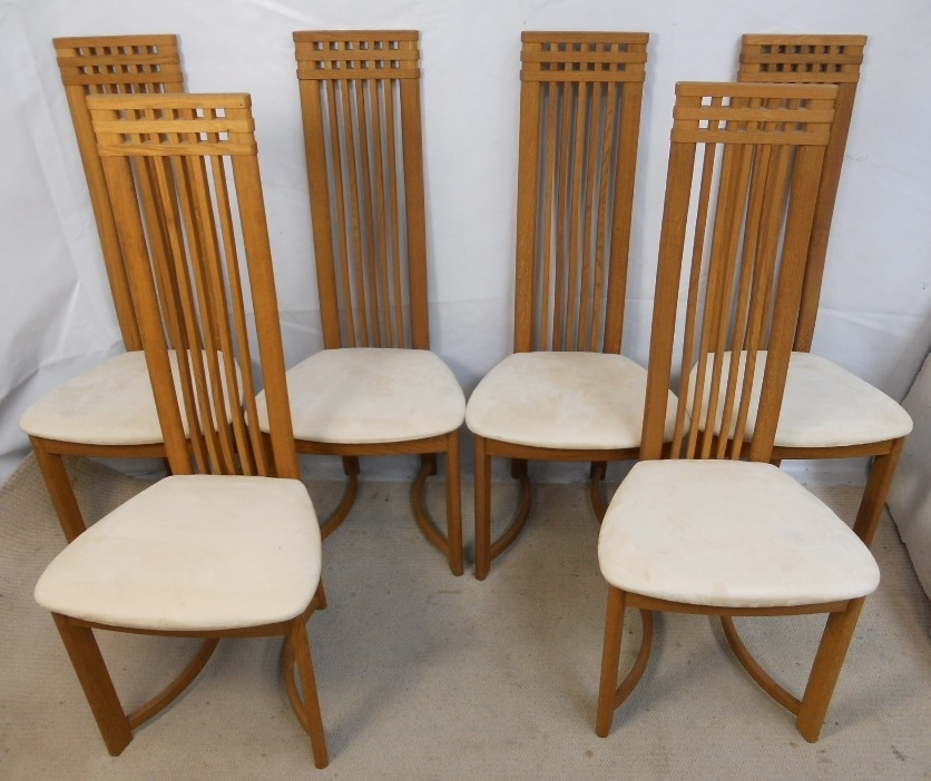 Set Of Six Oak Highback Modern Style Danish Retro Dining Chairs – Sold Throughout High Back Dining Chairs (Image 18 of 25)