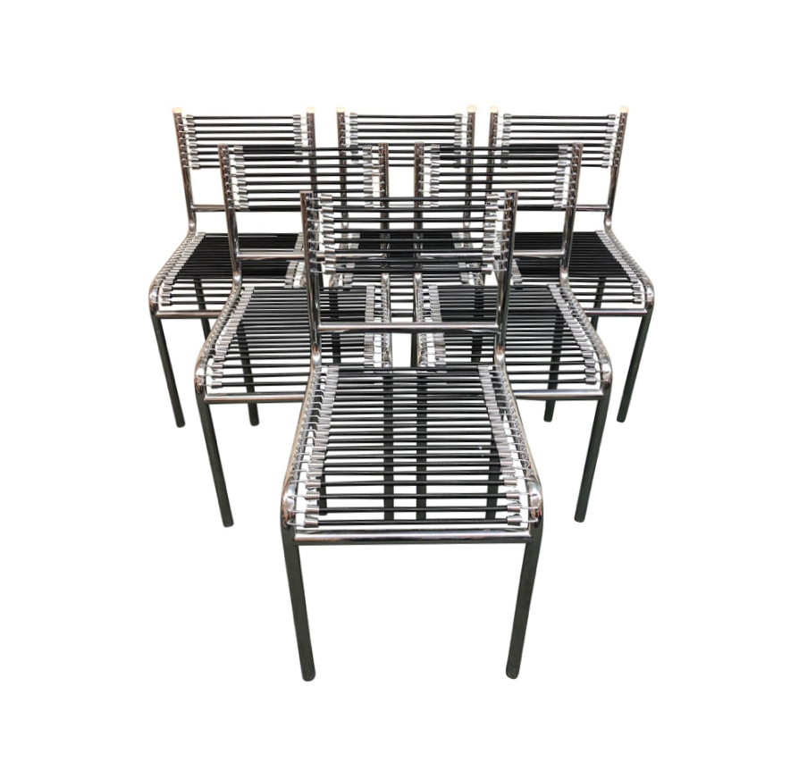 Set Of Six Rene Herbst Bungee + Chrome Dining Chairs (Image 24 of 25)