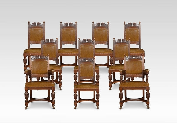 Set Of Ten Carved Oak Dining Chairs (C (Image 18 of 25)