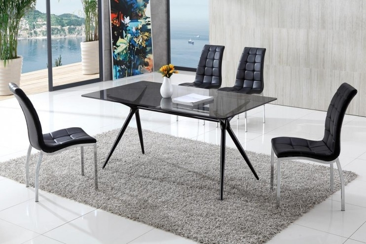 Seveno Smoke Glass Dining Table With Akira Chairs | Glass Vault In Smoked Glass Dining Tables And Chairs (View 12 of 25)