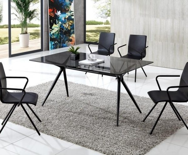 Seveno Smoke Glass Dining Table With Audrey Dining Chairs – Implex Regarding Smoked Glass Dining Tables And Chairs (Image 19 of 25)