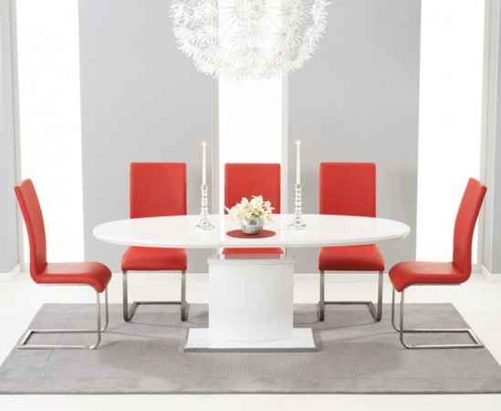 Seville 160Cm High Gloss Extending Dining Table With 6 Malibu Red Intended For Red Gloss Dining Tables (Image 14 of 25)