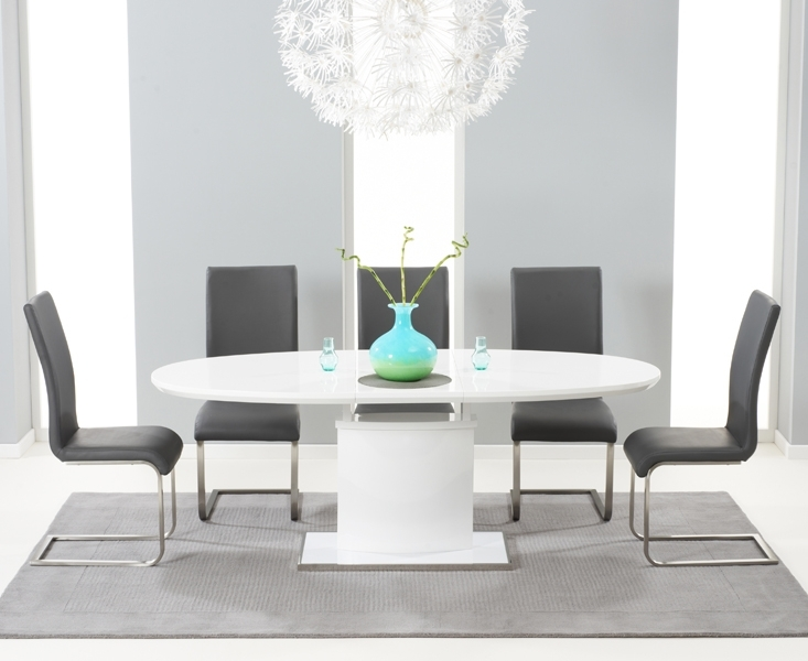 Seville 180Cm White Gloss Dining Set + 6 Grey Malibu Chairs [302203 Regarding Black High Gloss Dining Chairs (Image 22 of 25)