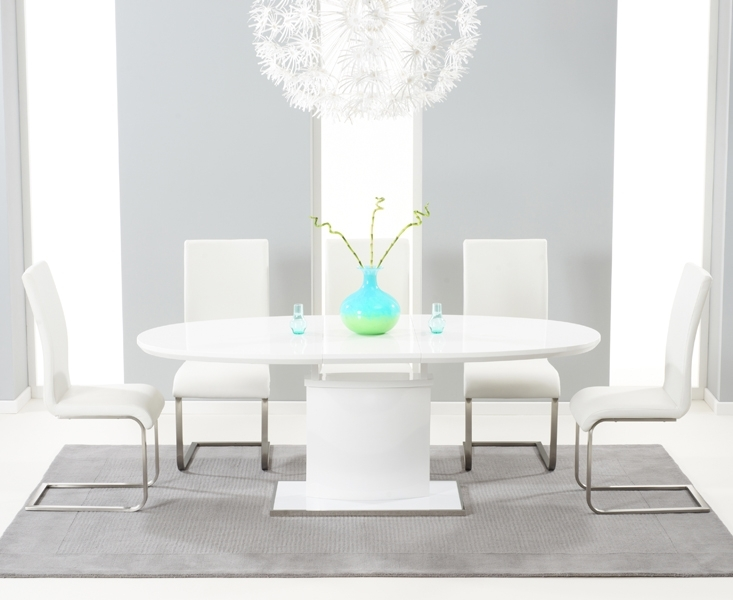Seville 180Cm White Gloss Dining Set + 6 Ivory Hereford Chairs Regarding White High Gloss Oval Dining Tables (View 16 of 25)