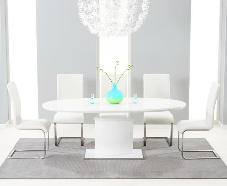 Seville 180Cm White Gloss Dining Set + 6 Ivory Hereford Chairs With White High Gloss Dining Chairs (Image 22 of 25)