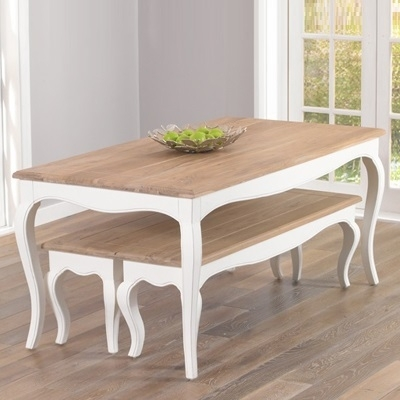 Seville Ivory Painted Distressed Dining Table With 2 Benches Pertaining To Ivory Painted Dining Tables (View 20 of 25)