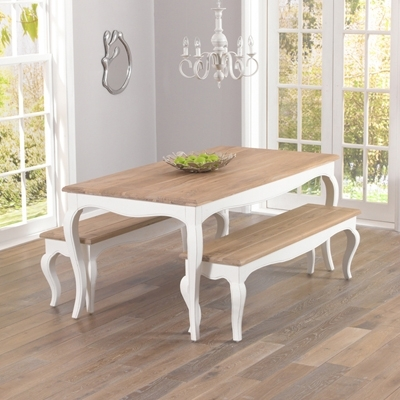 Seville Ivory Painted Distressed Dining Table With 2 Benches With Ivory Painted Dining Tables (View 6 of 25)