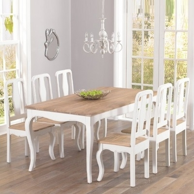 Seville Ivory Painted Distressed Dining Table With 6 Chairs Within Ivory Painted Dining Tables (View 12 of 25)