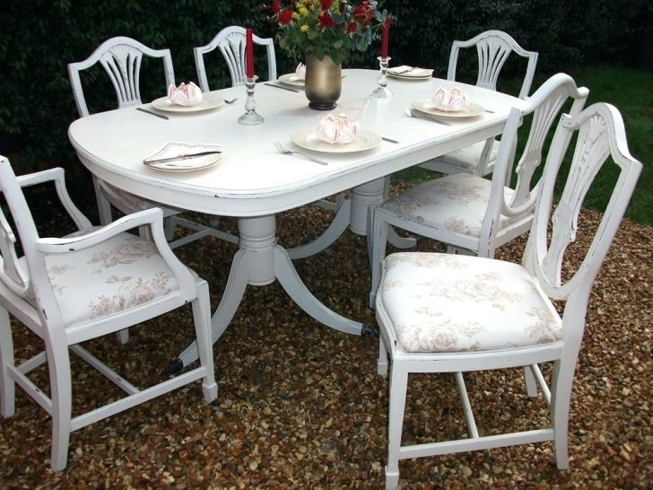 Shabby Chic Dining Chairs Great Table And Design Awesome Room 6 Ebay In French Chic Dining Tables (Image 22 of 25)