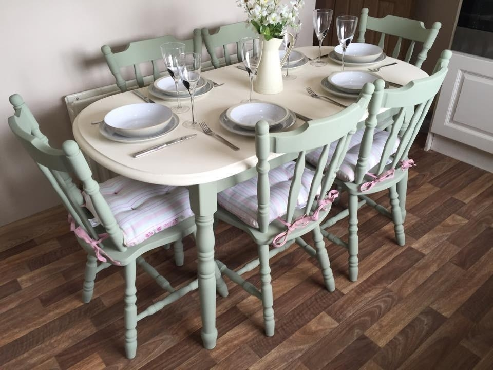 Shabby Chic Dining Table And 6 Chairs Vintage Farm House Chalk Paint Intended For Shabby Chic Cream Dining Tables And Chairs (Image 20 of 25)
