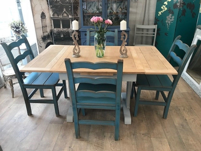 Shabby Chic Extendable Dining Table And Four John Lewis Chairs | In With Regard To Shabby Chic Extendable Dining Tables (Image 15 of 25)