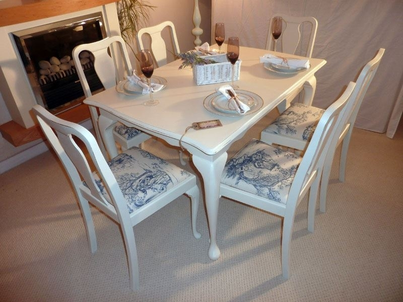 Shabby Chic Extendable Dining Table With 6 Chairs Painted Vintage In Shabby Chic Extendable Dining Tables (Image 16 of 25)
