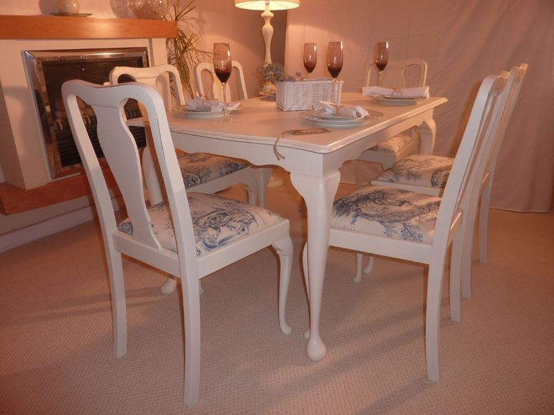 Shabby Chic Extendable Dining Table With 6 Chairs Painted Vintage Regarding Extendable Dining Tables 6 Chairs (View 18 of 25)