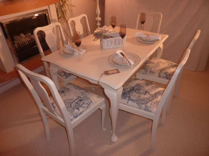 Shabby Chic Extendable Dining Table With 6 Chairs Painted Vintage Within Shabby Chic Extendable Dining Tables (View 16 of 25)