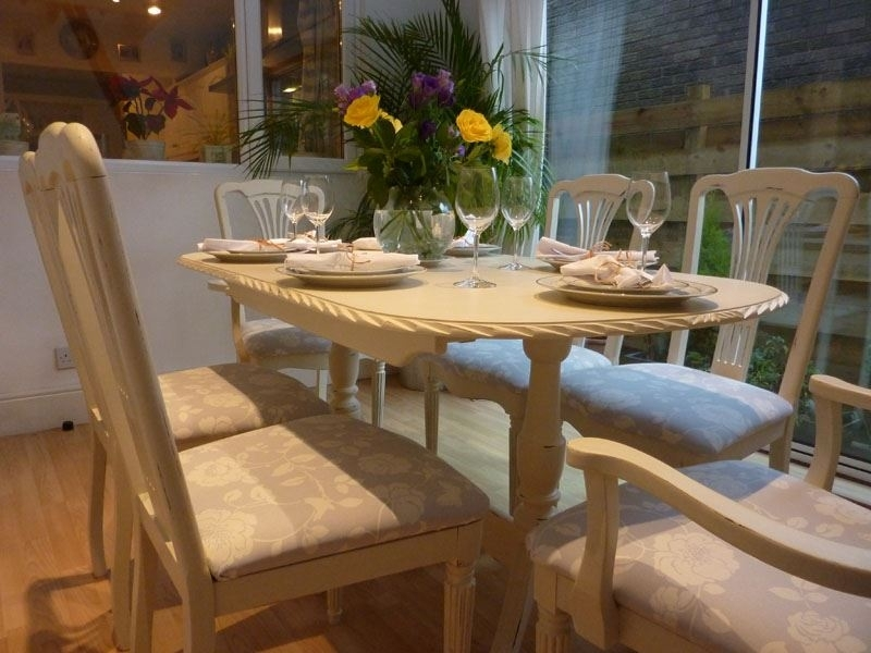 Shabby Chic Extending Dining Table With 6 Chairs Painted Vintage Intended For Shabby Chic Extendable Dining Tables (Image 21 of 25)