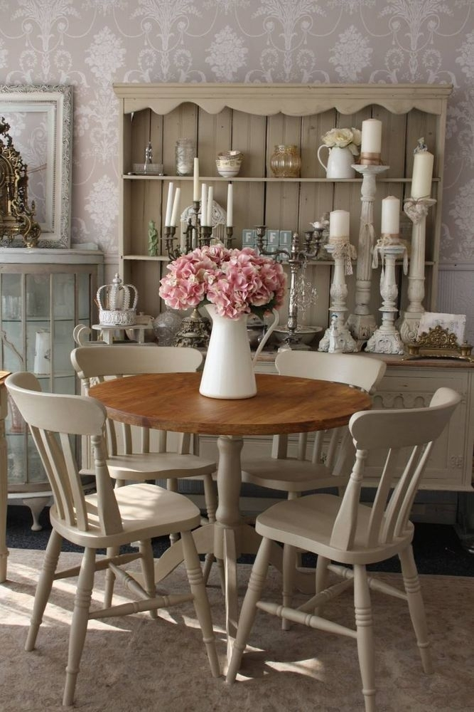 Shabby Chic Round Dining Table And 4 Chairs | Dining Sets For Shabby Chic Dining Sets (View 4 of 25)
