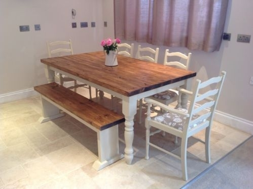 Shabby Chic Rustic Farmhouse Solid 8 Seater Dining Table Bench And 6 Inside 8 Seater Oak Dining Tables (View 9 of 25)