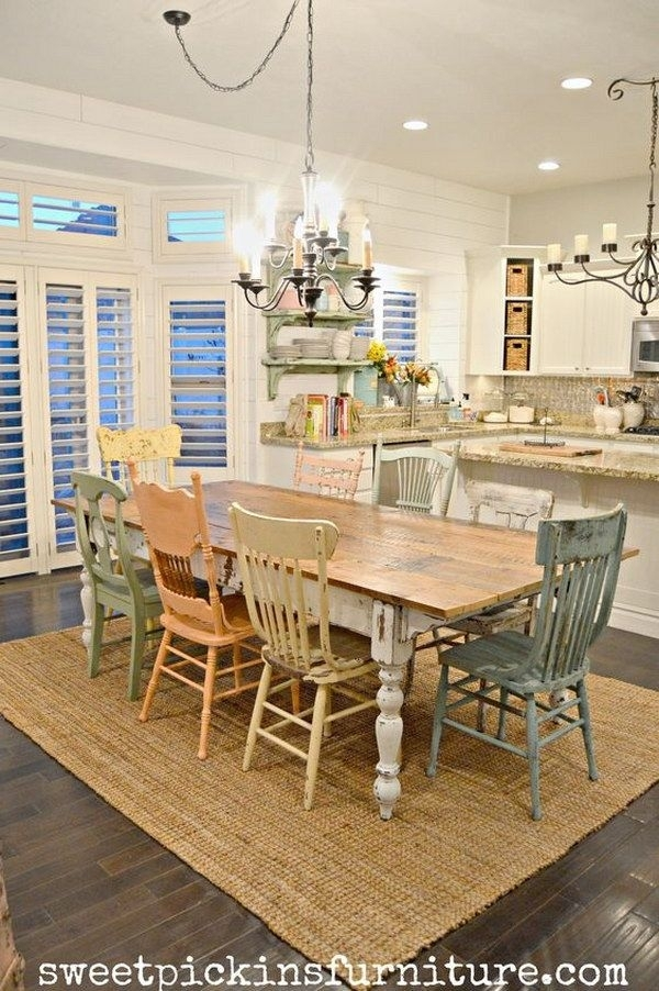 Shabby Chic Table And Mismatched Chairs Dining Room (Image 24 of 25)