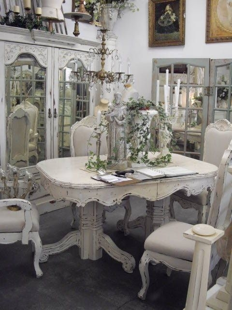 Shabby Chic Table, Chairs, Cabinet | Just Pretty | Pinterest For Shabby Dining Tables And Chairs (View 22 of 25)