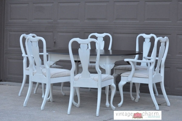 Shabby Chic White Dining Table And Chairs With Regard To Shabby Dining Tables And Chairs (Image 22 of 25)