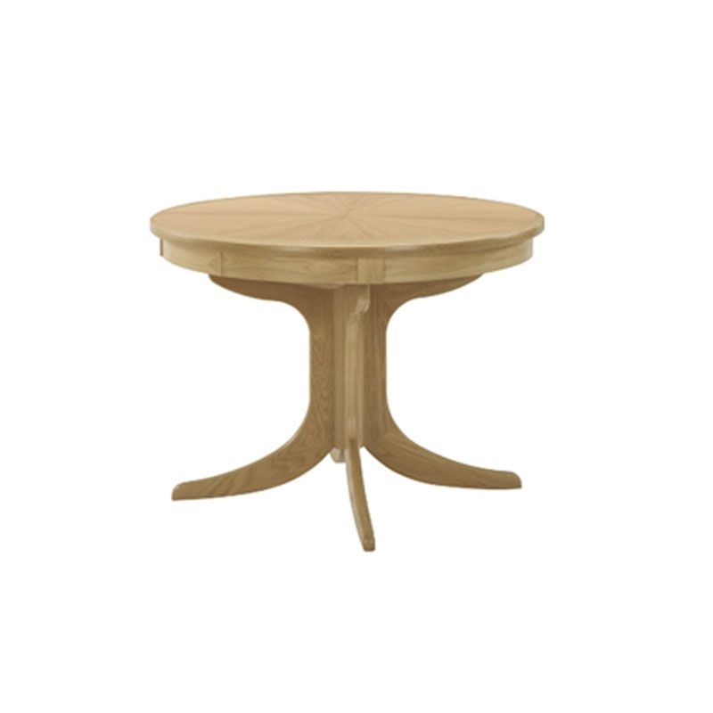 Shades Oak Circular Pedestal Dining Table With Sunburst Top Intended For Circular Oak Dining Tables (View 14 of 25)