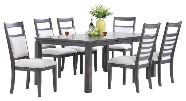 Shades Of Gray 7 Piece Dining Set – Transitional – Dining Sets – Within Walden 7 Piece Extension Dining Sets (View 17 of 25)