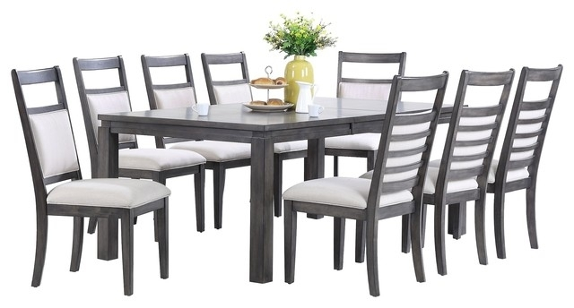 Shades Of Gray 9 Piece Dining Set – Transitional – Dining Sets – For Walden 9 Piece Extension Dining Sets (Image 15 of 25)