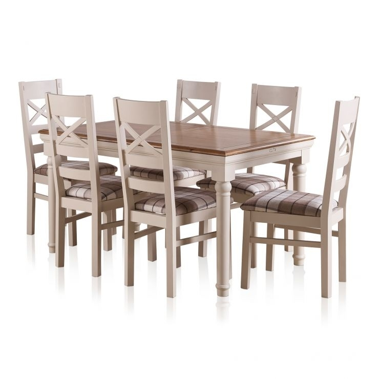 Shay Dining Table Set In Painted Oak + 6 Brown Check Chairs In Rustic Oak Dining Tables (Image 22 of 25)