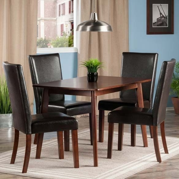 Shaye Walnut 5 Piece Dining Room Set With Upholstered Chairs From Throughout Caden 6 Piece Dining Sets With Upholstered Side Chair (View 13 of 25)