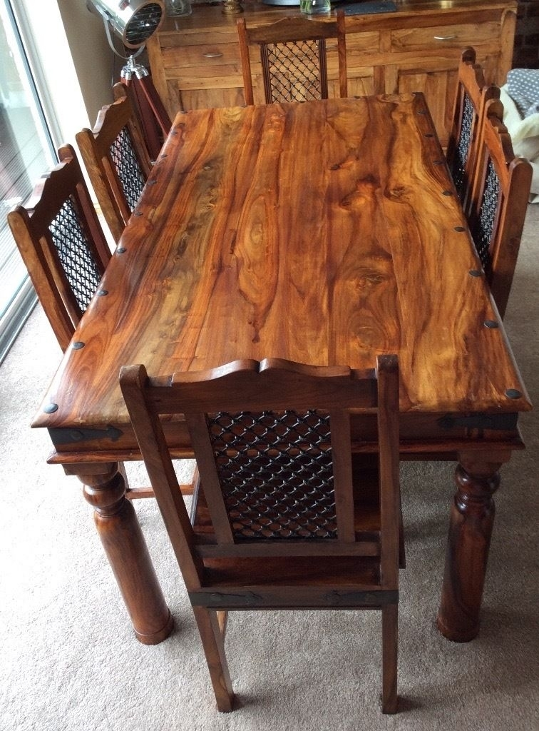 Sheesham Jali Solid Wood Dining Table & 6 Chairs | In Norwich Within Sheesham Dining Tables (Image 16 of 25)