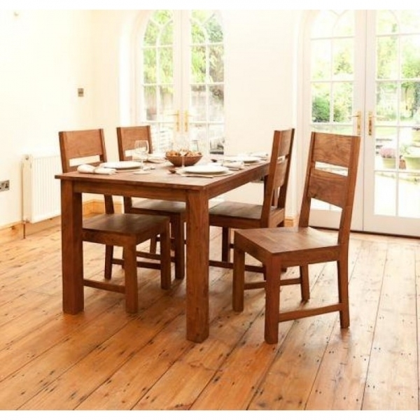 Sheesham Wood 4 Seater Dining Set – Sublime Exports Throughout Sheesham Dining Tables And 4 Chairs (Image 21 of 25)