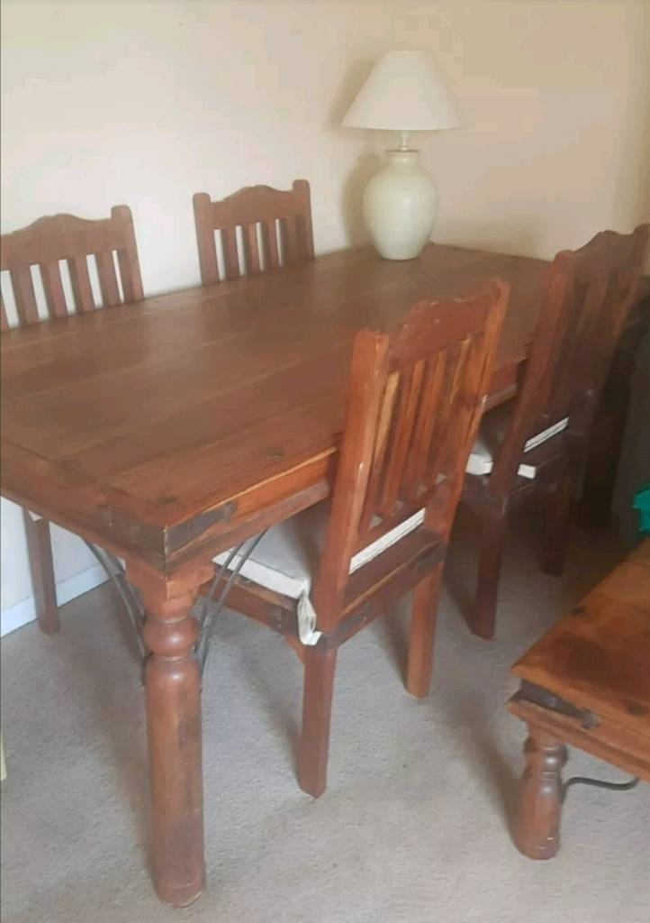 Sheesham Wood Dining Table With 4 Chairs | In Bramhall, Manchester Within Sheesham Dining Tables And 4 Chairs (View 12 of 25)