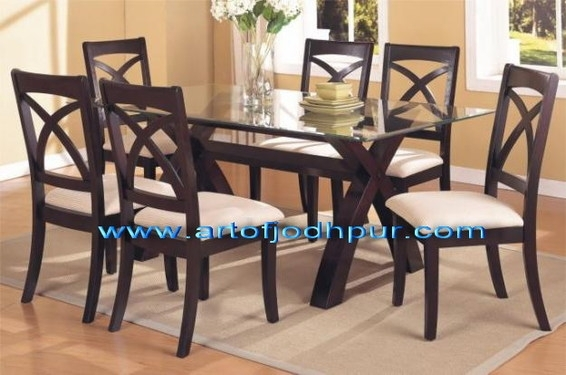 Sheesham Wood Glass Top Dining Set – Used Dining Table For Sale In For Wooden Glass Dining Tables (View 5 of 25)