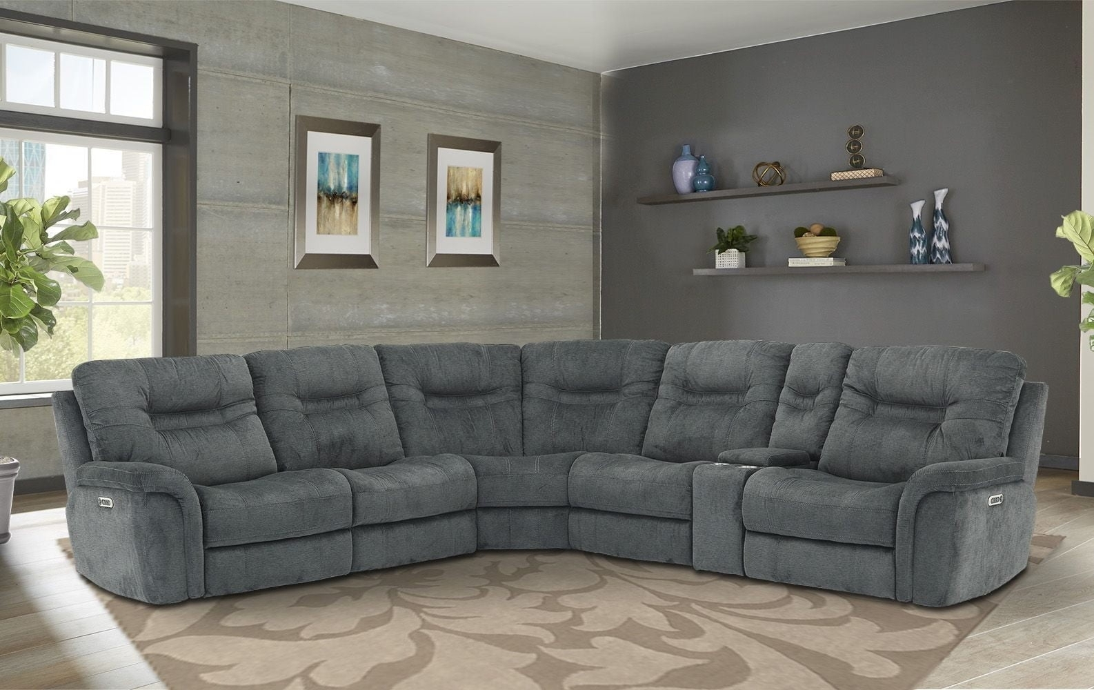Shelton Polo Power Reclining Sectional With Power Headrest From Inside Denali Charcoal Grey 6 Piece Reclining Sectionals With 2 Power Headrests (View 22 of 25)