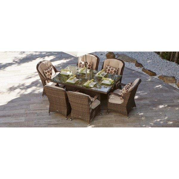 Shop 7 Piece Eton Outdoor Mixed Brown Wicker Rectangle Dining Table Within Valencia 72 Inch 7 Piece Dining Sets (Image 18 of 25)