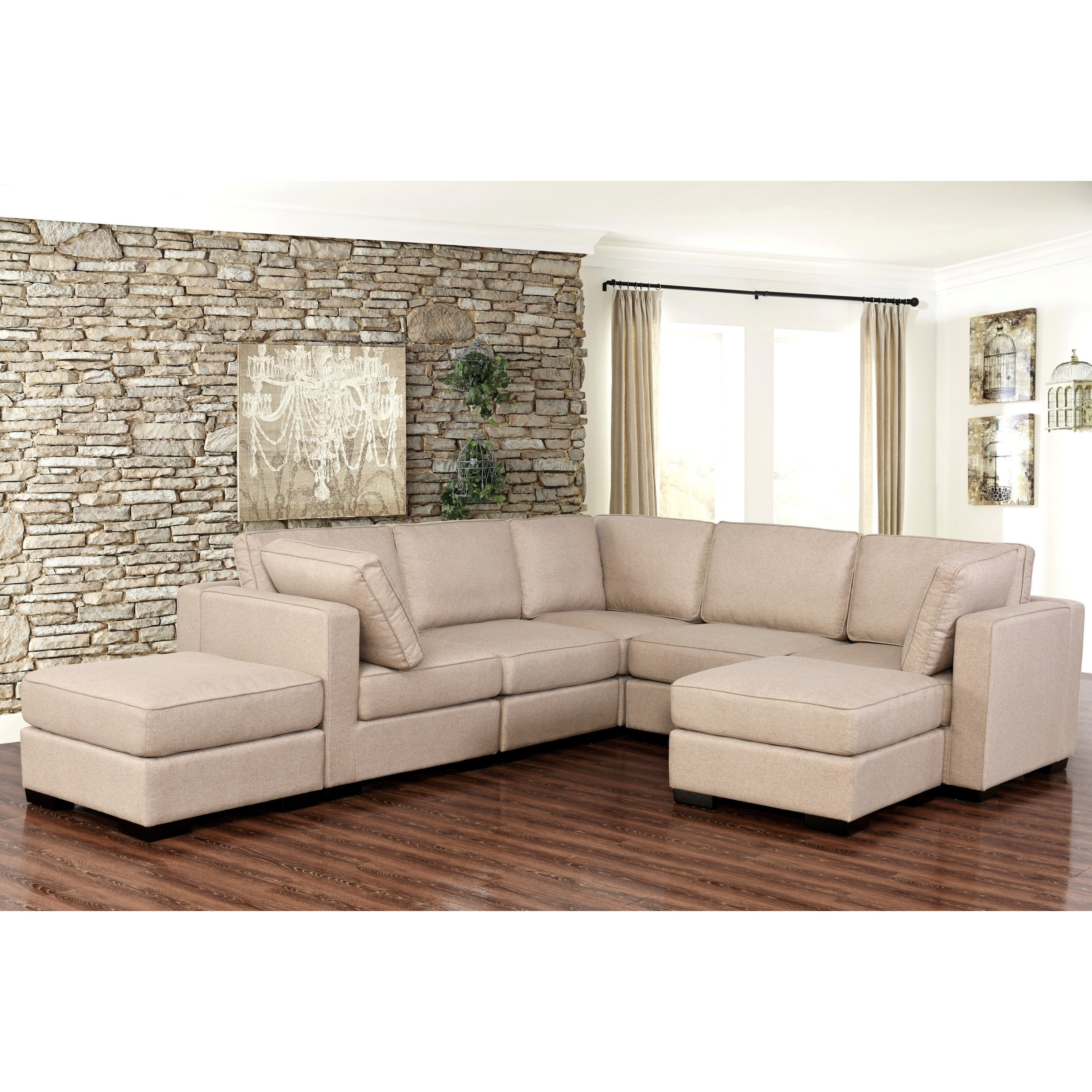Shop Abbyson Harper Fabric Modular 7 Piece Sectional – Free Shipping Inside Harper Down 3 Piece Sectionals (Image 21 of 25)