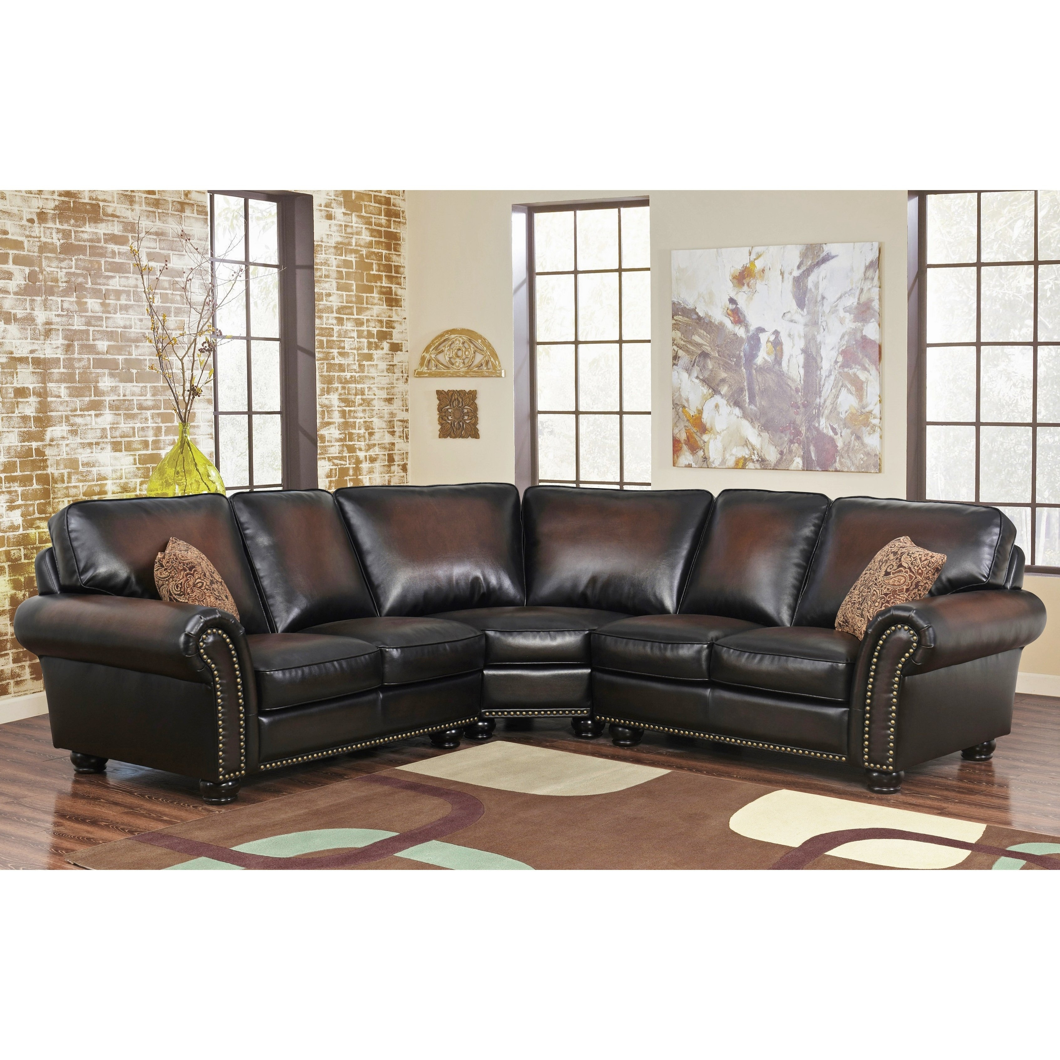 Shop Abbyson Melrose Bonded Leather 3 Piece Sectional – Free In Haven 3 Piece Sectionals (Image 22 of 25)