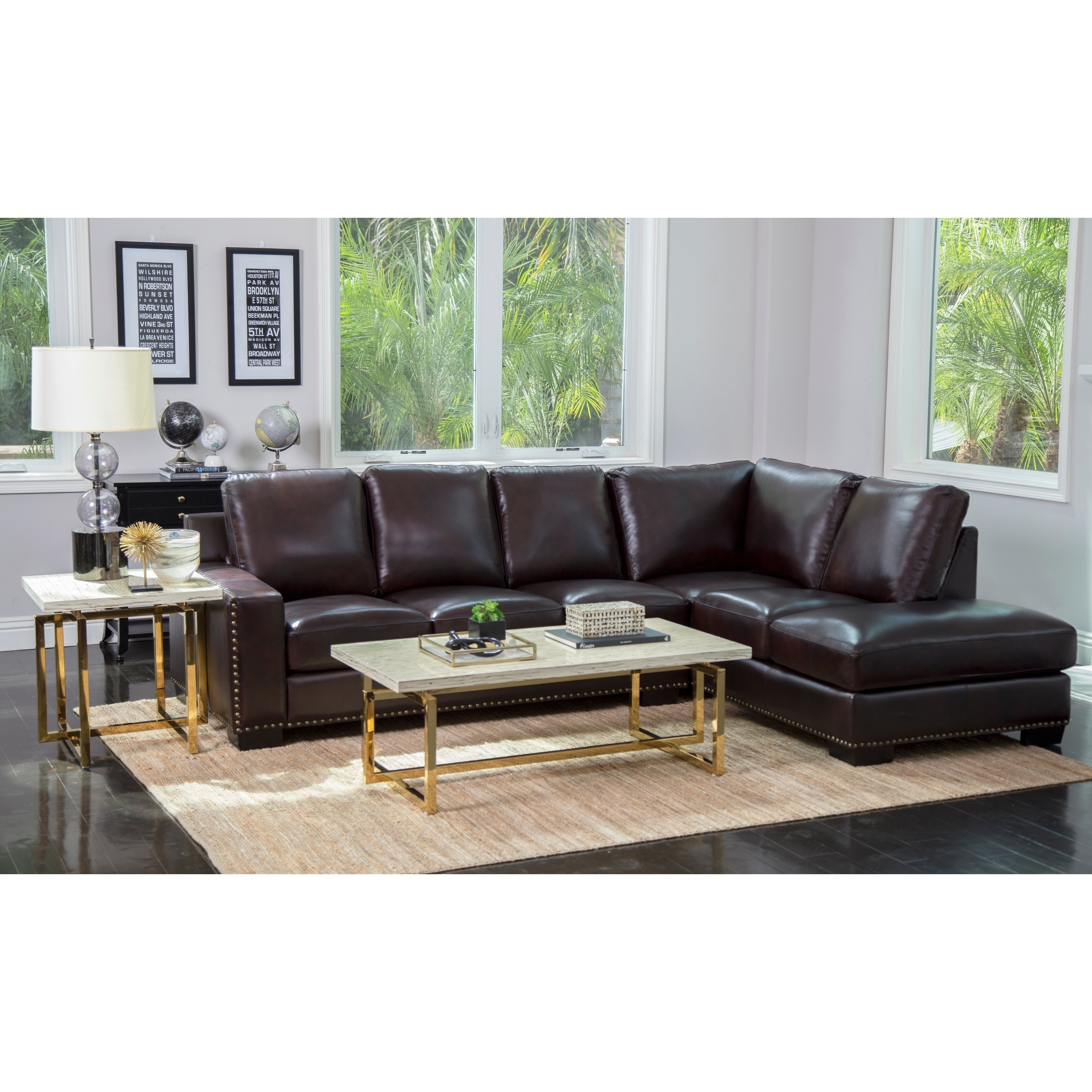 Shop Abbyson Monaco Brown Top Grain Leather Sectional Sofa – On Sale Regarding Adeline 3 Piece Sectionals (Image 21 of 25)