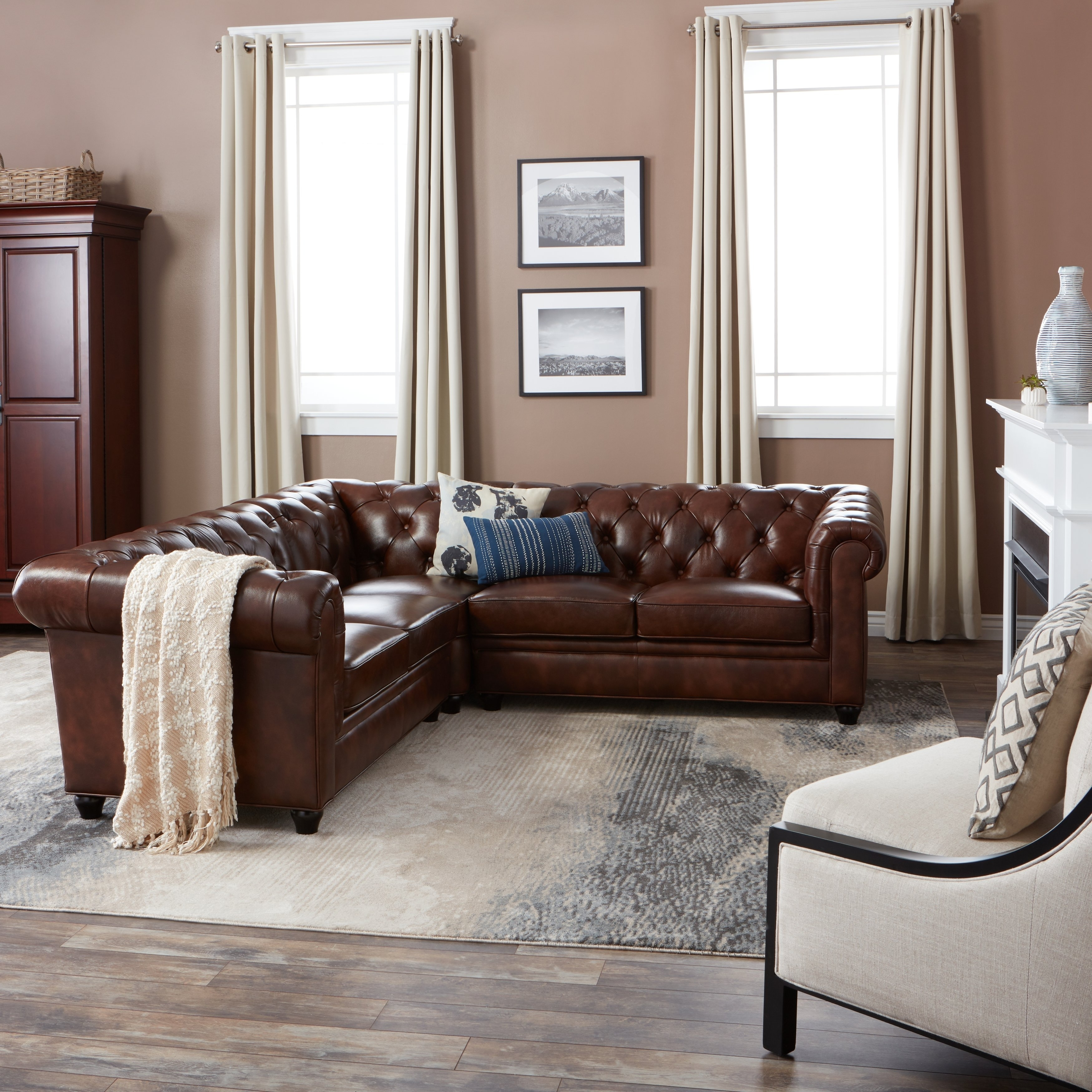 Shop Abbyson Tuscan Tufted Top Grain Leather 3 Piece Sectional Sofa For Haven Blue Steel 3 Piece Sectionals (View 17 of 25)