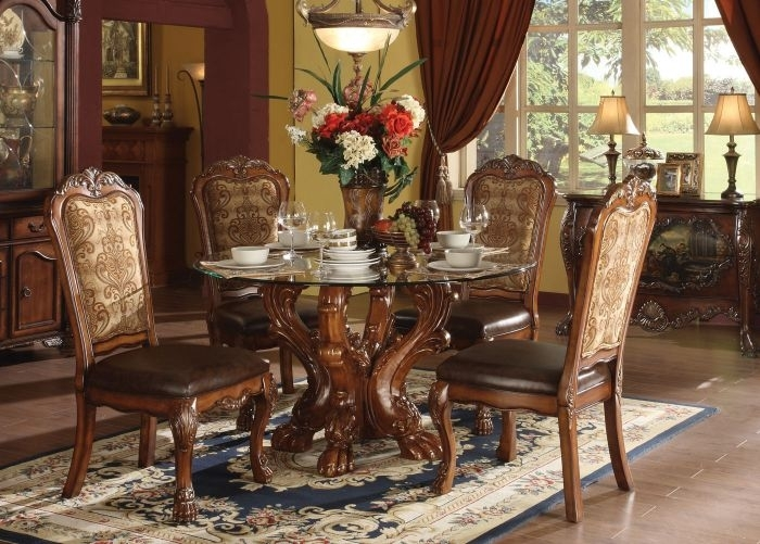 Shop Acme Dresden 5 Pc Round Dining Table Set In Cherry With Grady 5 Piece Round Dining Sets (View 17 of 25)