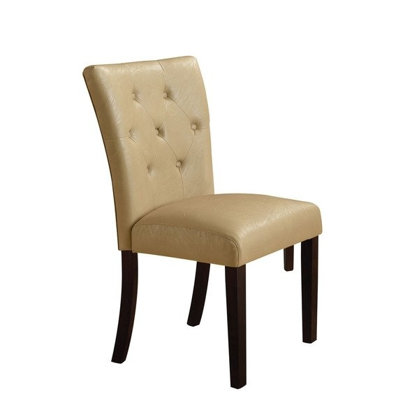 Shop Acme Furniture Bethany Cream/walnut Faux Leather Dining Chairs Throughout Cream Faux Leather Dining Chairs (Image 22 of 25)