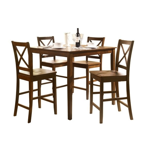 Shop Acme Martha 5 Piece Pack Counter Height Set, Country Brown Regarding Harper 5 Piece Counter Sets (View 2 of 25)