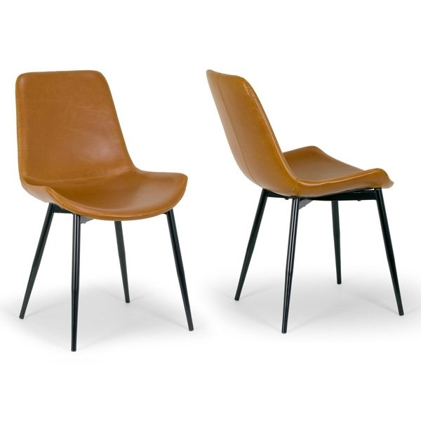 Shop Alary Caramel Brown Faux Leather Modern Dining Chair (Set Of 2 Within Leather Dining Chairs (View 9 of 25)