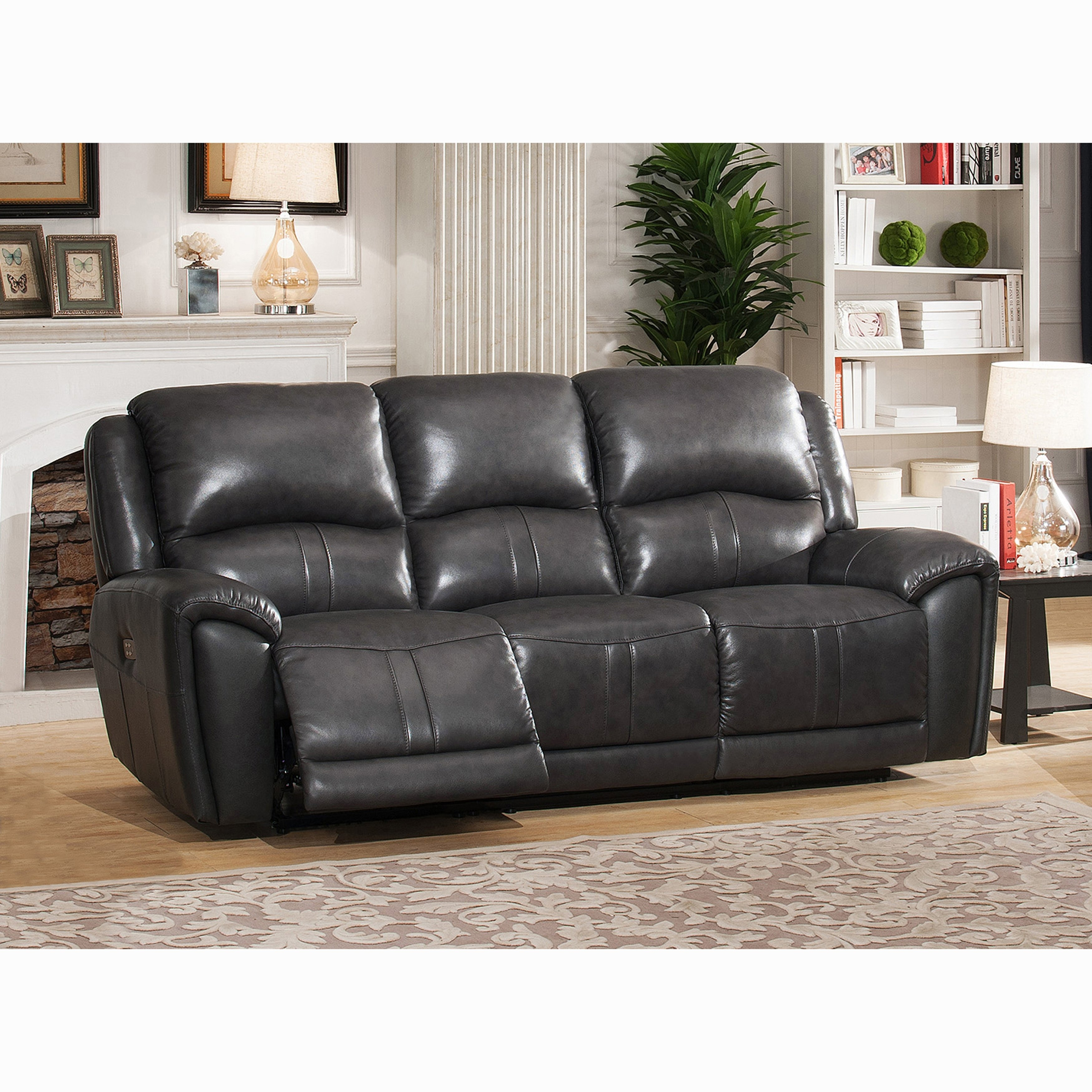 Shop Ari Grey Top Grain Leather Power Reclining Sofa With Power Within Marcus Grey 6 Piece Sectionals With Power Headrest & Usb (View 7 of 25)