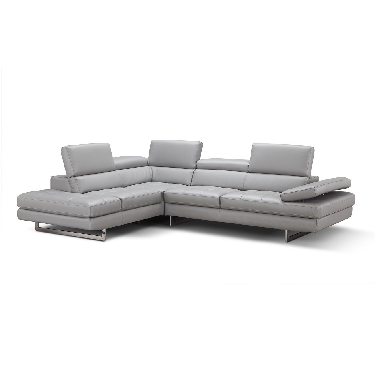 Shop Aurora Italian Leather Sectional Light Grey In Left Hand Facing Inside Aurora 2 Piece Sectionals (View 11 of 25)